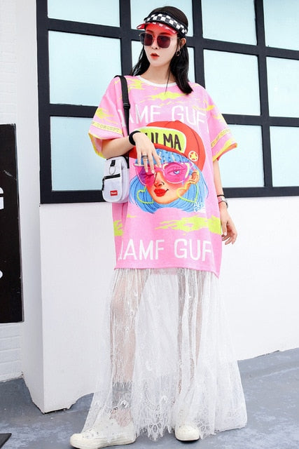 European station street fashion cartoon sequined print T-shirt long loose loose two-piece lace stitching ageing dress