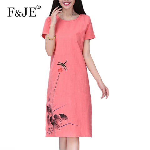 F&JE 2017 Summer Fashion Arts style Women Loose Casual Short sleeve Long Dress Top quality cotton linen Vintage Print Dress J762