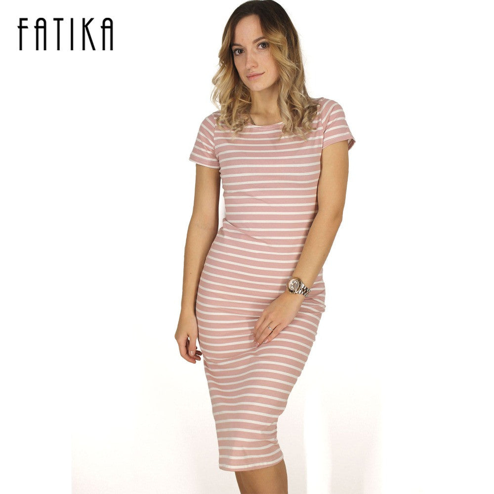 2b6ee5579d4 FATIKA Women Casual Summer Dress Short Sleeve O-Neck Bodycon Dress Striped  Side Split T ...