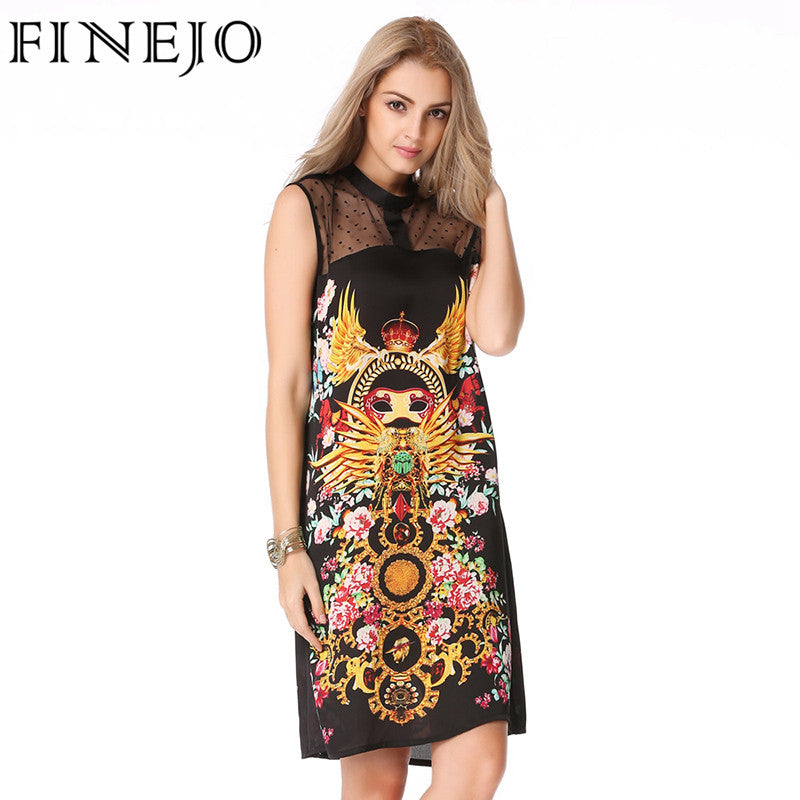 2590e4f858561 FINEJO Vintage 3D Print Mysterious Totem Summer Dress Hollow Out Patch – Intel  Retro