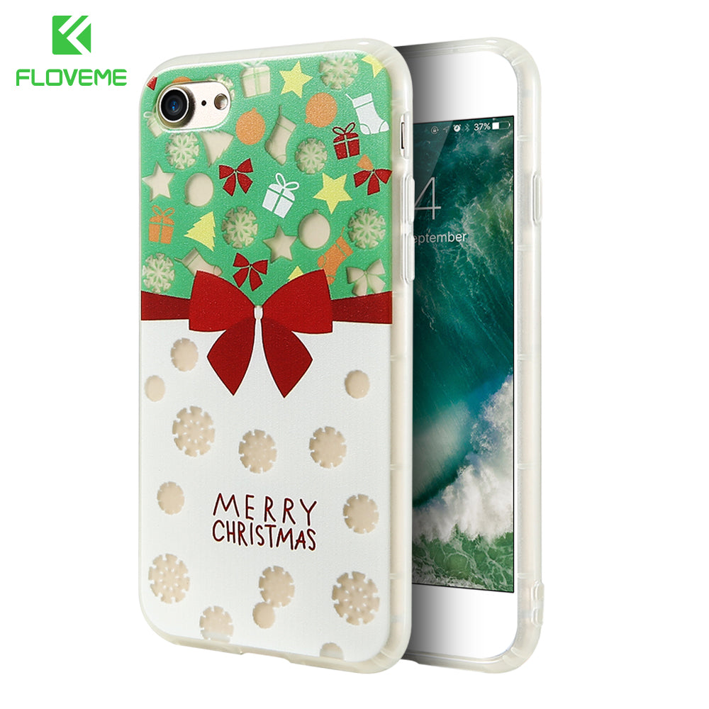 floveme christmas phone cases for iphone 7 6 6s soft silicone fashion cute glow phone cover