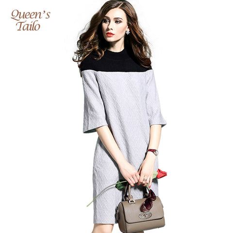 Fashion Woman Kintting Winter Dress Half Sleeve Sweater Dress Female Winter Warm Wear Black Gray Patched Midi Vestidos