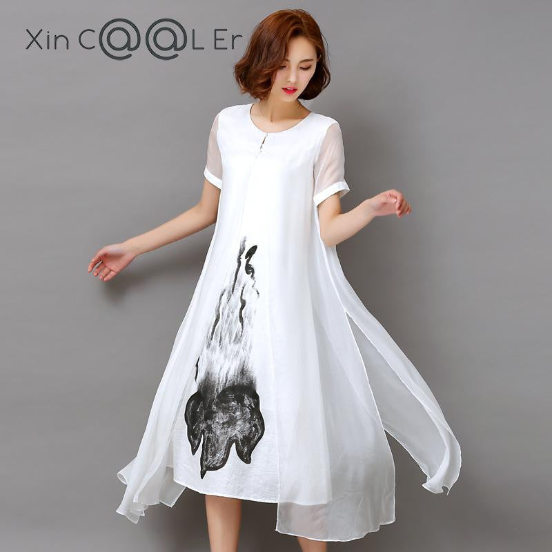 005f1401ab Fashion2017 New Summer Autumn White Black Ink Print Women Long Dress Retro  Short Sleeve Cotton Linen ...