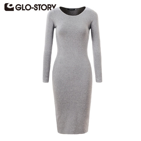 GLO-STORY Women Dress 2017 Elegant Chic Fashion Long Sleeve Dress Sexy Party Bodycon Sweater Dresses WMY-2616