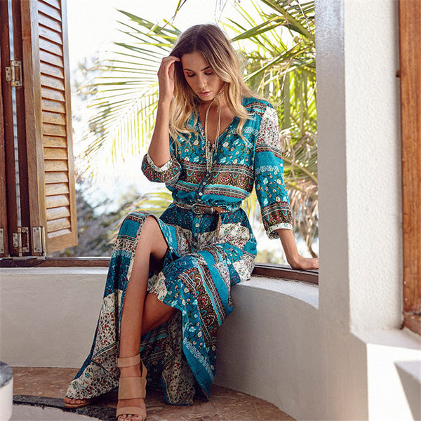 GOPLUS Boho Summer Beach Dress Women Vintage Floral Print V neck Female Party Long Maxi Dress Casual Vestido Largo Robe Longue