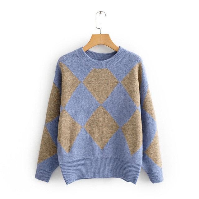Geometric Sweater Vintage Student Knitted Sweater 2019 Autumn Winter Tops For Women Pullovers Jersey