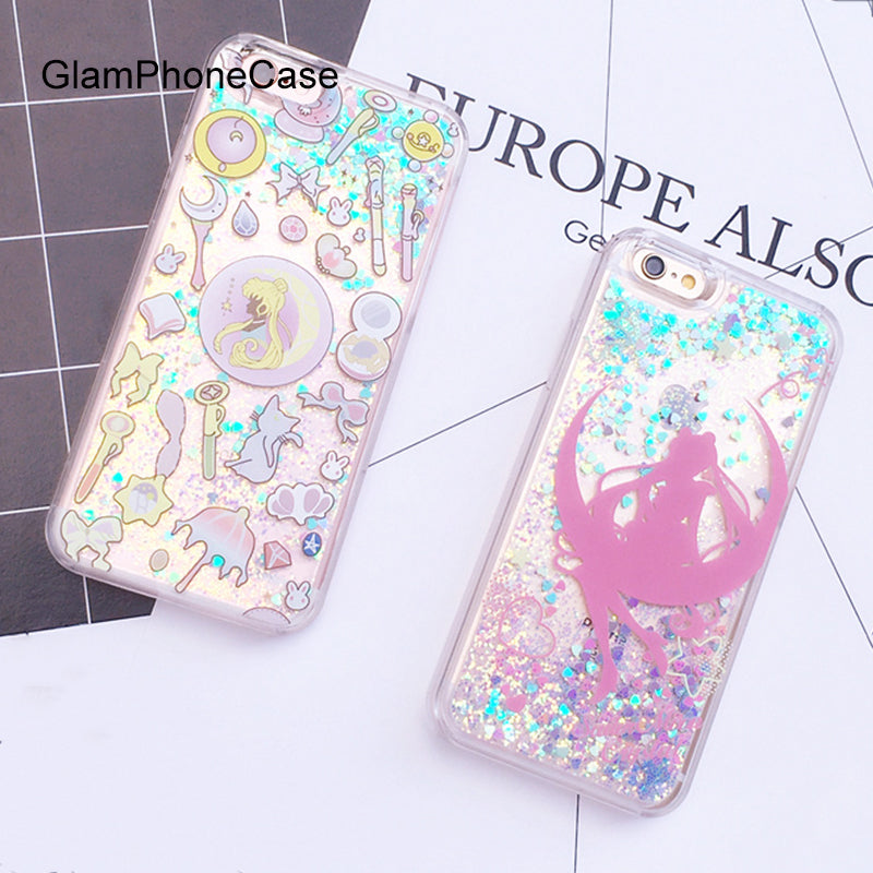 detailed look 4cc38 ccd66 Glitter Colorful Paillette Sand Quicksand Cartoon Sailor Moon Case cover  for iPhone 6 6s Plus 7 7plus Back Cover Case
