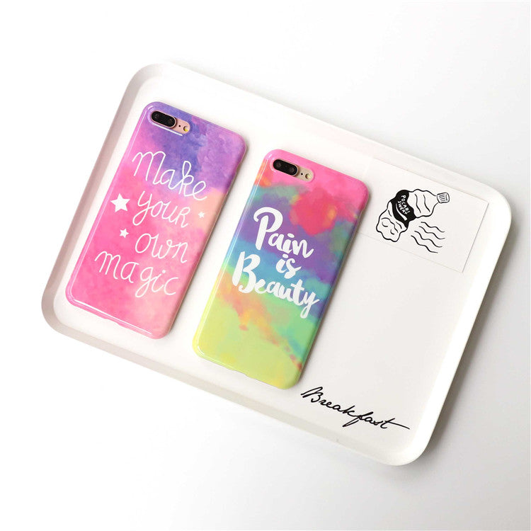 info for 8e15e eccd0 Glossy Rainbow color phone Cases For iphone 6 6s 6plus 7 7Plus girl style  soft silicon case back cover for iphone 8 8plus