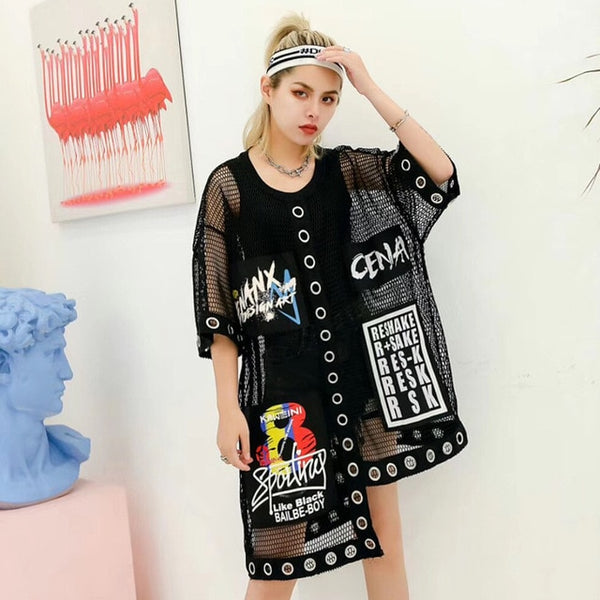 Grid T-shirt female perspective T-shirt large size fat mm mesh shirt street wild personality letter printing loose short sleeve