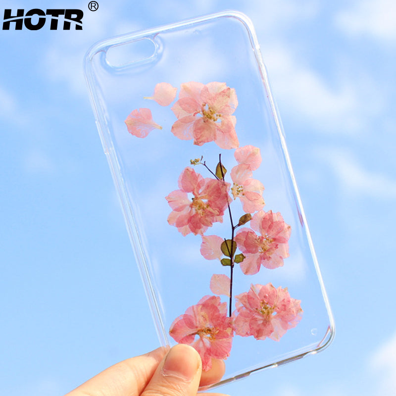 cheap for discount b3652 4d2e9 HOTR Dried Real Flower Phone Cases For iphone 6 6s 6 plus For iphone 7 7  plus Transparent Ultra Slim Soft TPU Case Back Cover