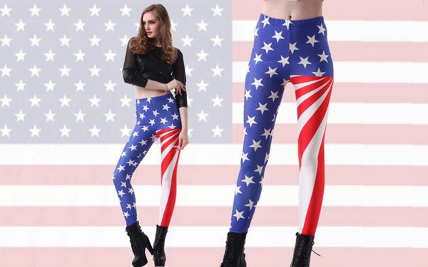Women Old Glory Flag Of America Digital Printing Legging Fashion World Cup Punk