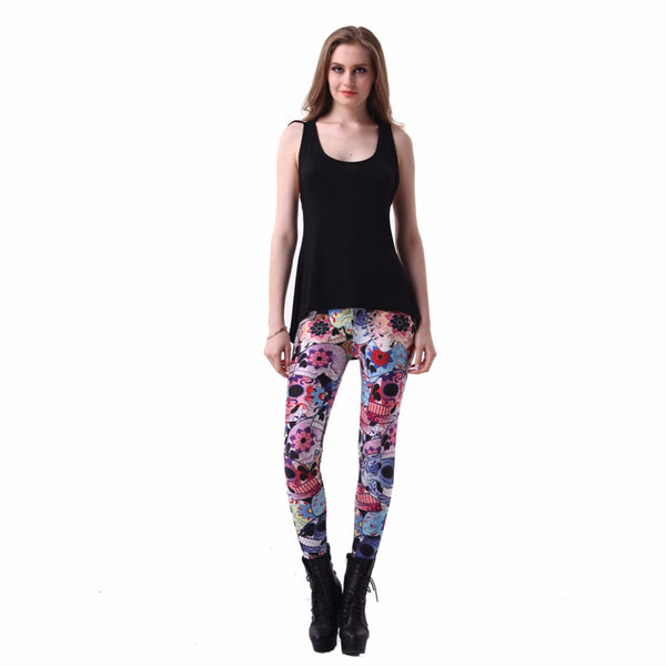 Womens Day Of The Dead Leggings Digital Printed Milk Vintage Fitness Pants