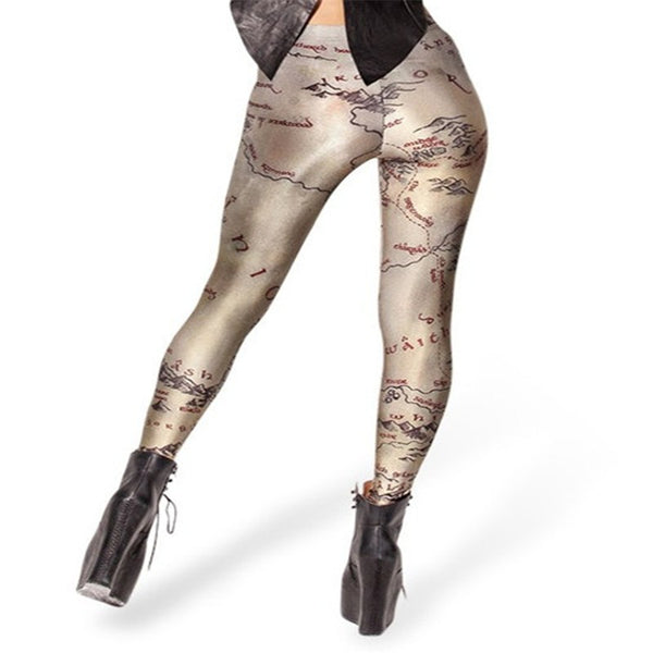 Sexy Leggings Autumn Black Fashion Digital Printing Pants Middle Earth Map Leggings for Women