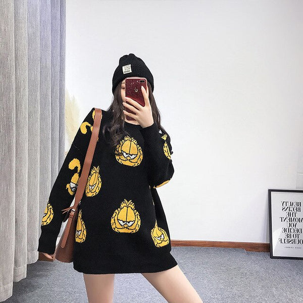 Han edition of new fund of 2018 autumn winters is Garfield design sweater school sets long loose round neck long sleeve knit