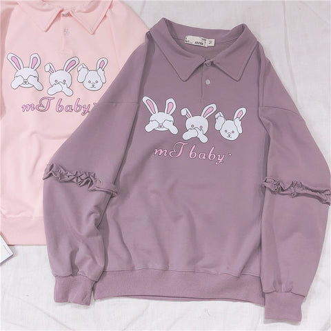 Harajuku Cute Rabbit Print Women Ruffle Long Sleeve Hoodies Young Girl Student Pullover Shirts Spring Polo collar Sweatshirt