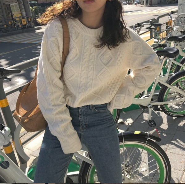 High Quality Rib Knitted Sweater White Pullover Sweater Fall 2019 Round Neck Long Sleeve Jumpers Korean Style Women Clothes