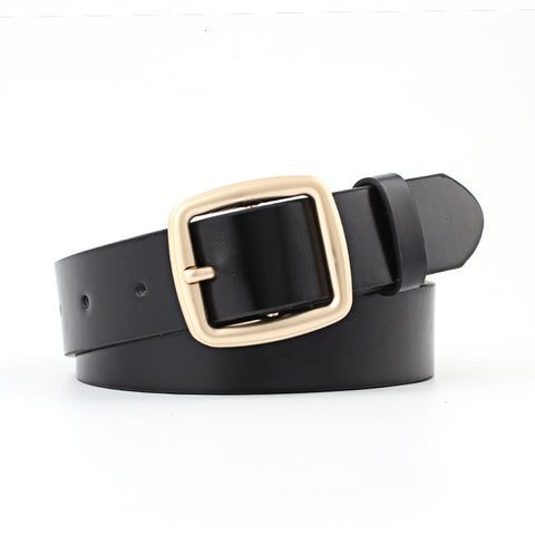 High Quality Women Gold Square Pin Metal Buckle Belts 95-105x2.8cm New Wide Leather Waist Strap Belt Woman Belts For Jeans
