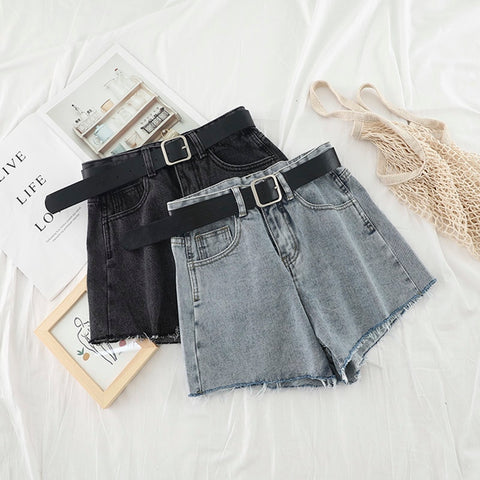 High Waist Hot Denim Shorts 2019 Summer Ripped Tassel Shorts Korean Streetwear Sexy Short Jeans Cowboy Style