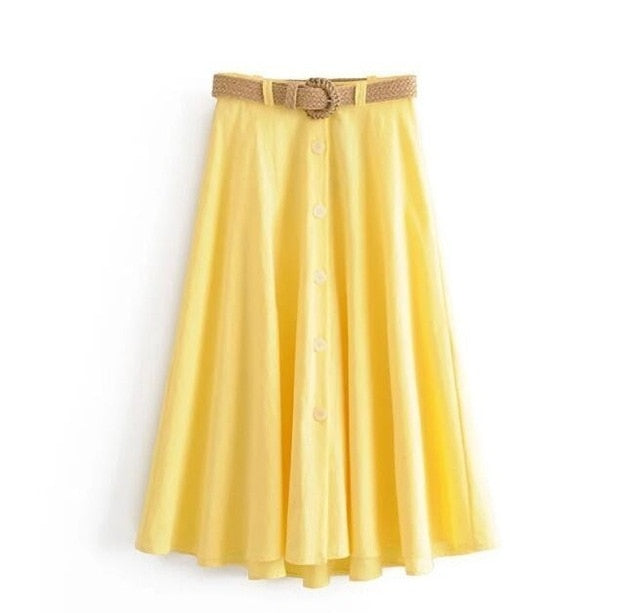 High Waist Yellow Linen Skirts Knitted Straw Belt Summer Long Skirts Irregular Hem A Linen Faldas