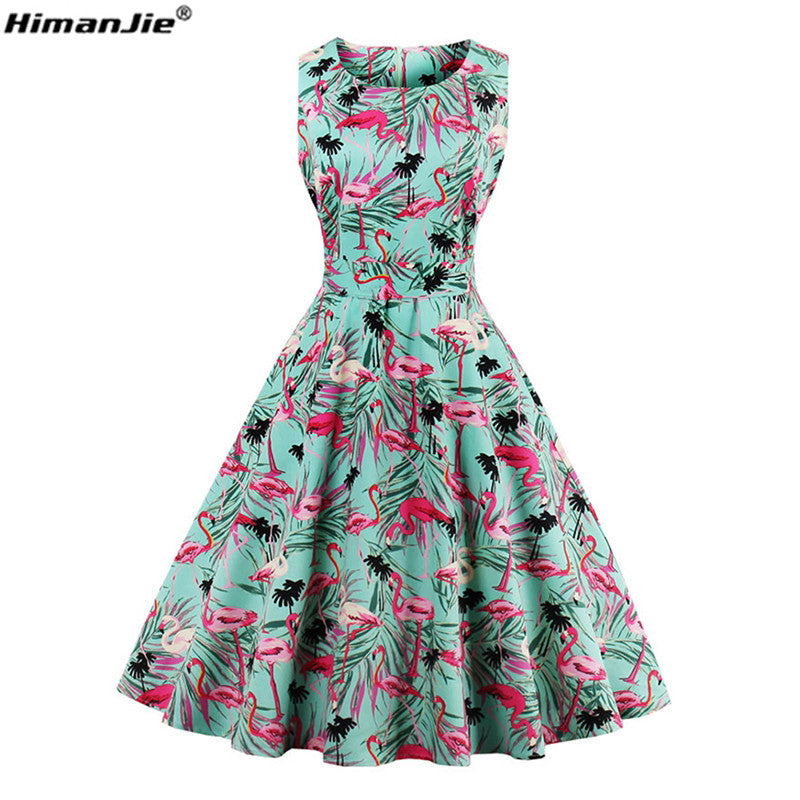 HimanJie Plus Size 4XL Women Retro Dress 50s 60s Vintage Rockabilly ...