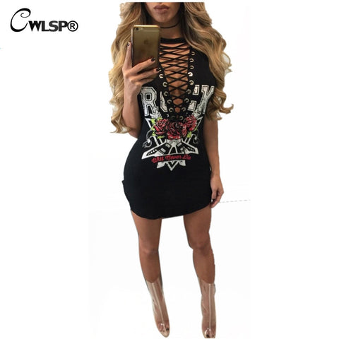 Hot Fashion Cross lace Up t shirt Dress Women Side Split Sexy Mini vestido Rock Music Roses de festa kerst jurk dames QL2792