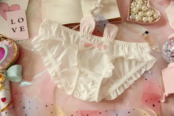 Japanese Lovely Cute Kawaii Lolita Bunny Rabbits 3D Ears Bowknot Ruffle Panties Underwear Brief Sexy Lingeries 2Colors