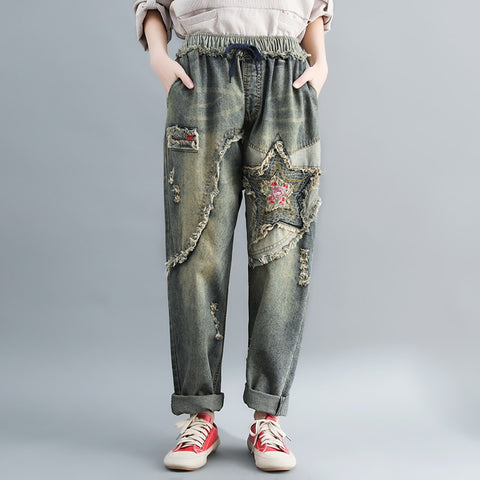 Jeans woman summer2019 Korean version of the elastic waist old embroidery hole five-pointed star patch pants large size xxxl
