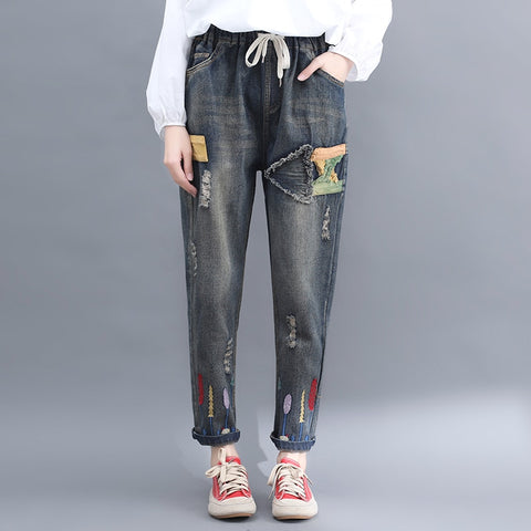Jeans woman summer2019 new hole patch cloth jeans female literary retro embroidered elastic waist trousers Increase XXL
