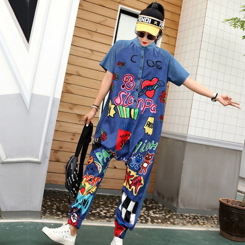 Jumpsuit 2019 summer new Thai street fashion personality letter graffiti printing large size loose short-sleeved jumpsuit female