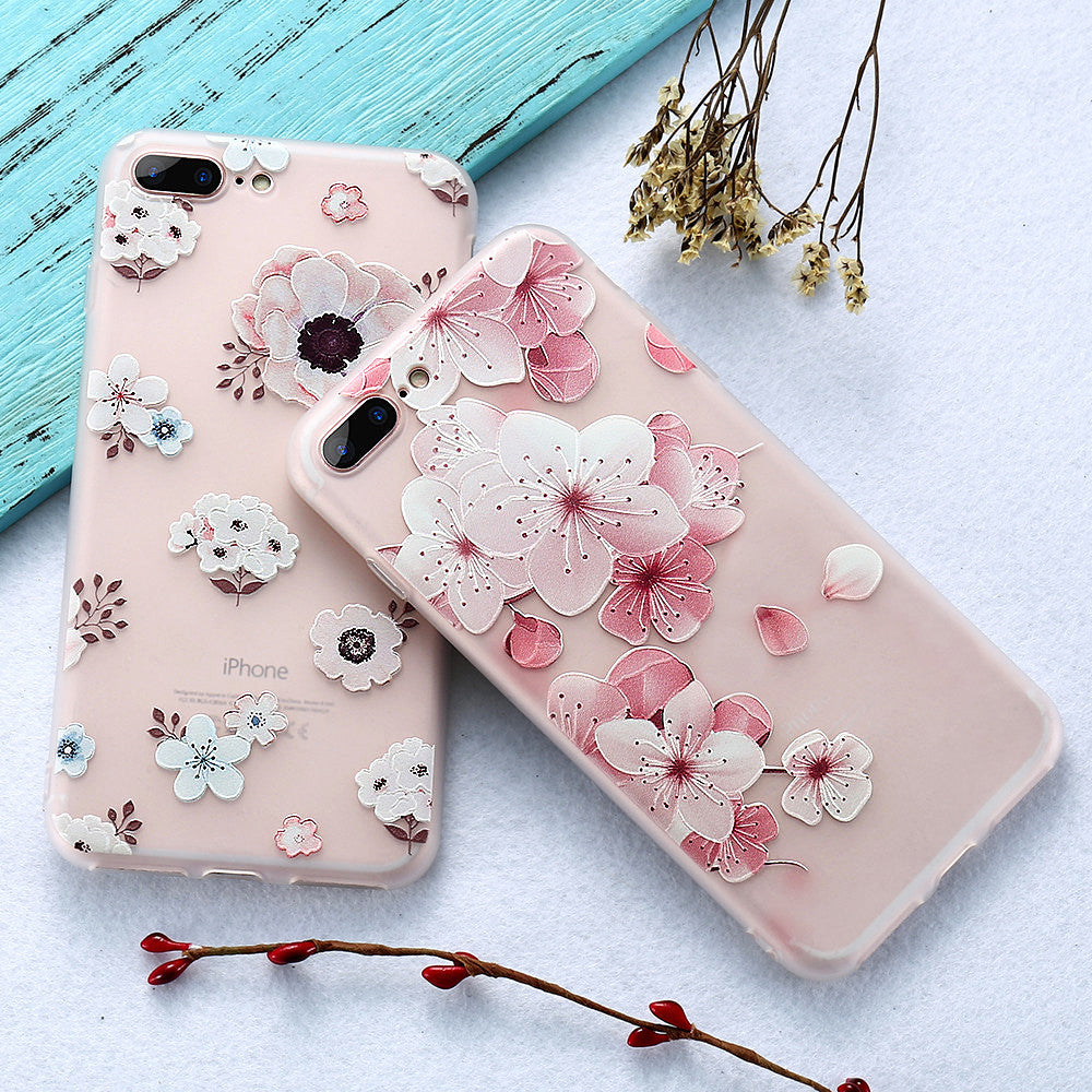 check out 388b9 f25a5 KISSCASE 3D Relief Flower Case For iPhone 8 Plus iPhone 6 Case Sexy Girly  Soft Silicon Cover For iPhone 7 iPhone 5S Case