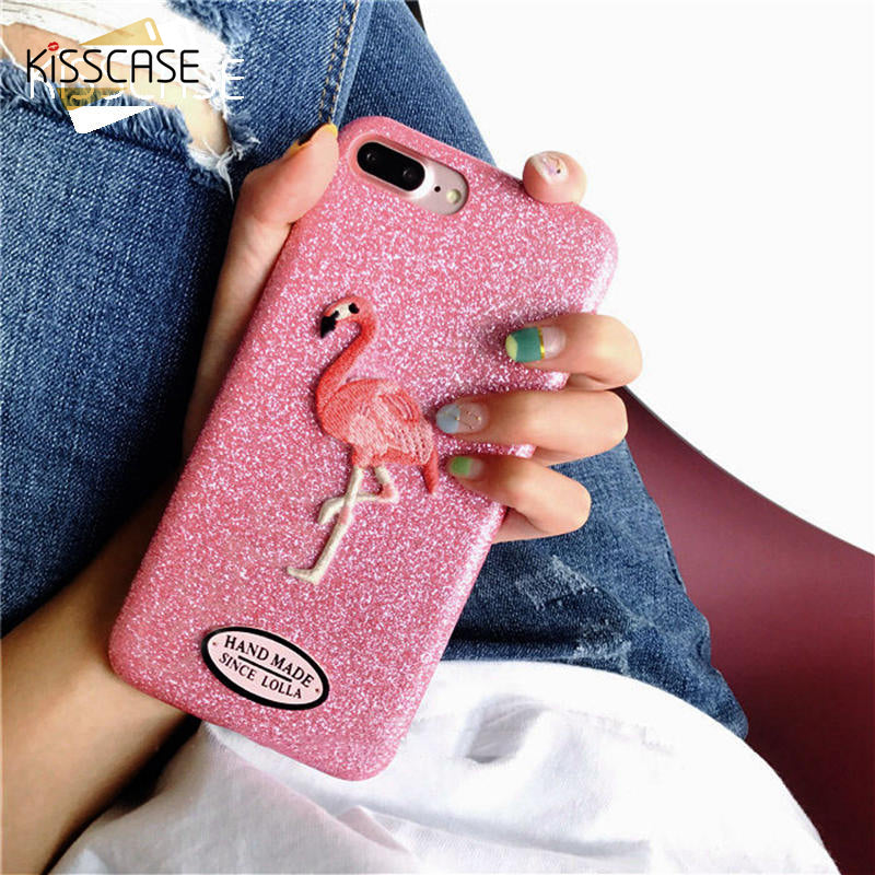 promo code 5893c fe277 KISSCASE Flamingo Embroidery Case For iPhone 6 6s 7 Plus Cases Pink  Flamingo Pattern Glitter Cover For iPhone 7 7 Plus case