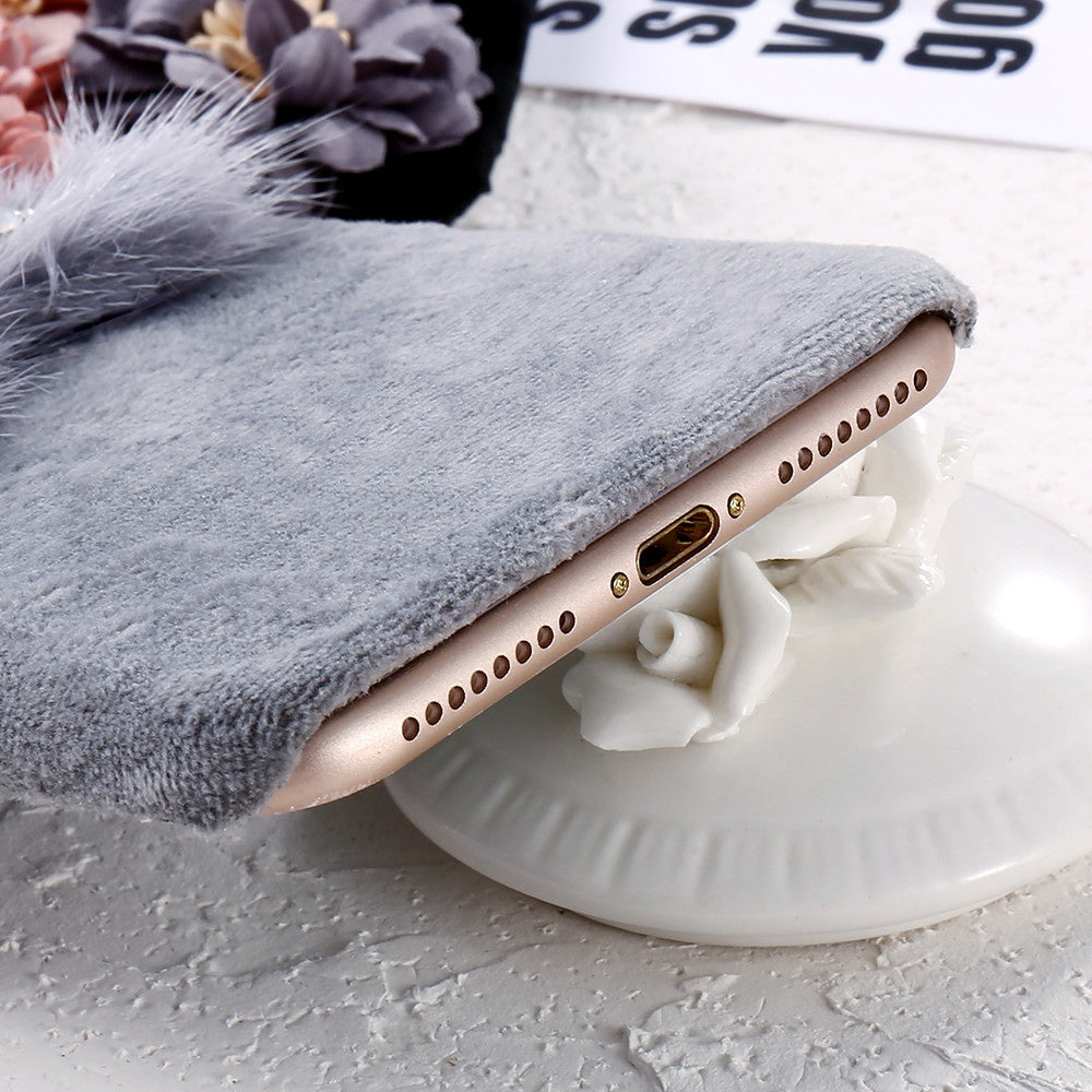 the latest 52138 7b23b KISSCASE Flower Plush Mink Fur Case For iPhone 8 7 6s 6 Luxury Bling  Diamond Furry Case For iPhone 8 7 6S 6 Plus Hard PC Cover