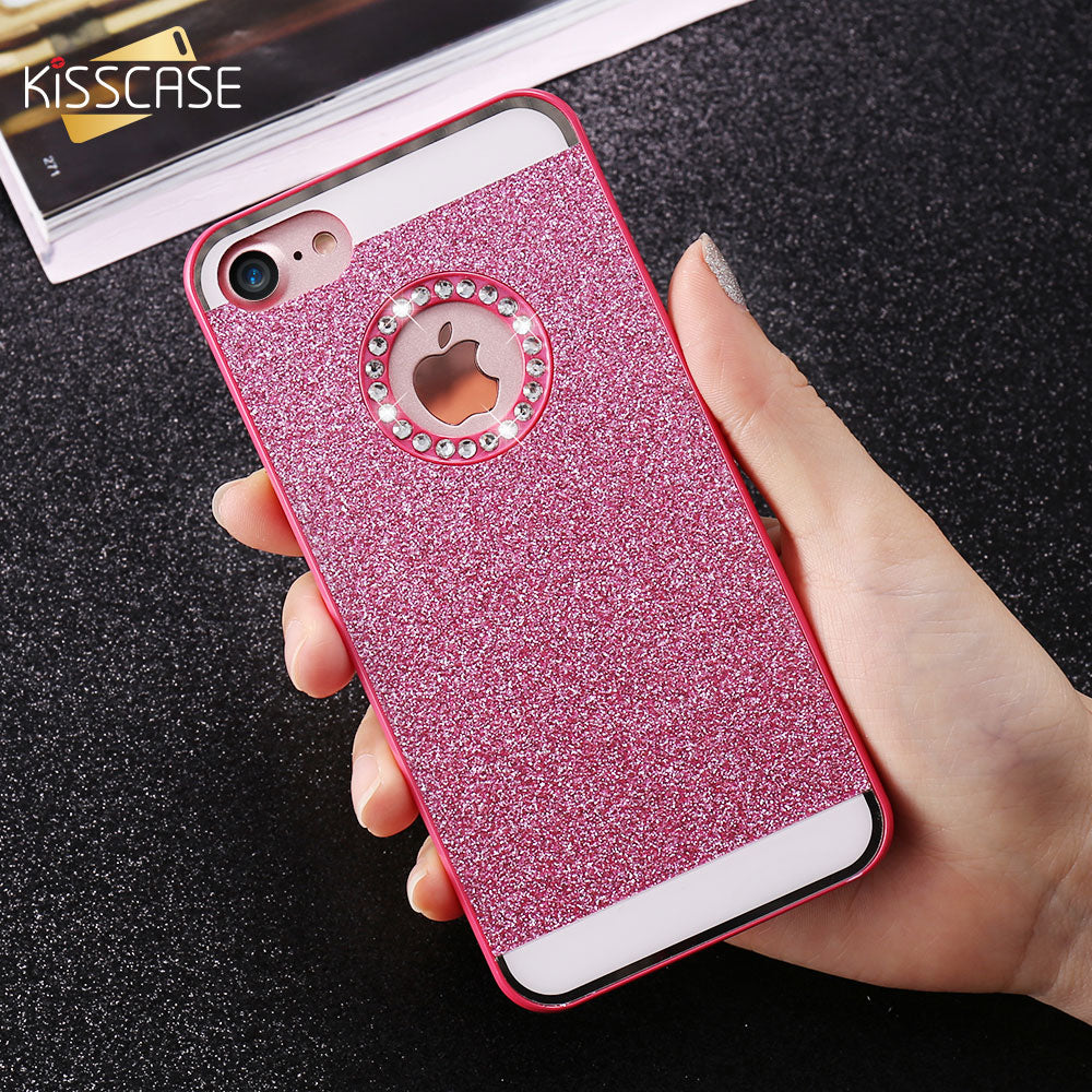 huge selection of 79b95 beefd KISSCASE Glitter Bling Diamond Back Case For iPhone 5 5S iPhone 4S Luxury  Phone Case For iPhone 7 Plus iPhone 6 6S Plus Case