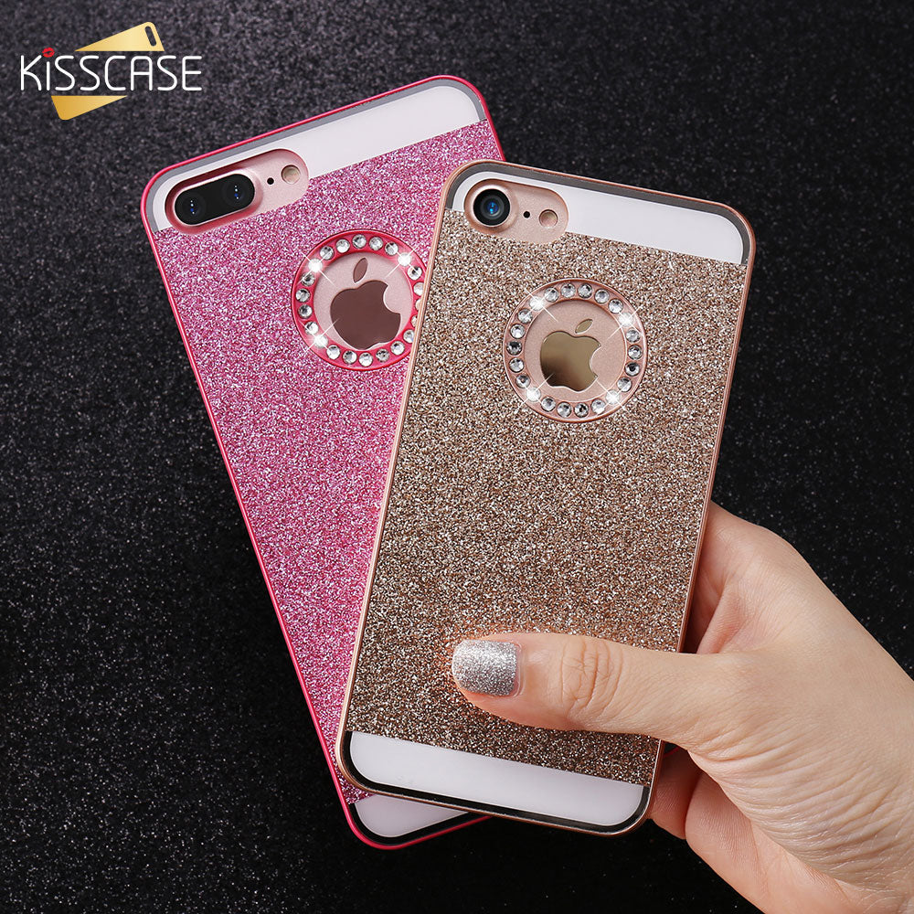 huge selection of 86f63 80dbf KISSCASE Glitter Bling Diamond Back Case For iPhone 5 5S iPhone 4S Luxury  Phone Case For iPhone 7 Plus iPhone 6 6S Plus Case