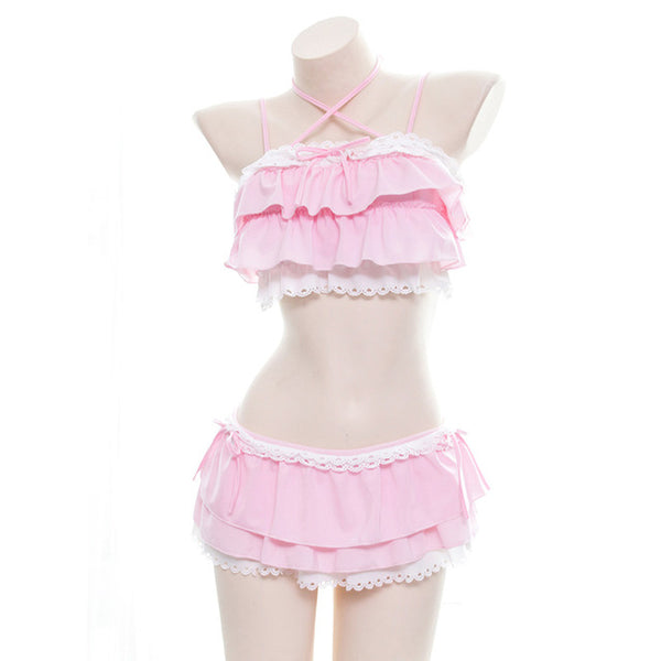 Kawaii Sexy Women's Lingerie Set Lolita Cat Girls Ruffles Camisoles & Skirt Underwear Set Sukumizu Japanese Two-piece Set