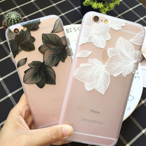 Kerzzil Beautiful Relief Flowers Hard Case For iPhone 7 Plus Clear Leaves Phone Cases For iPhone 6 6S Plus Back Cover Capa
