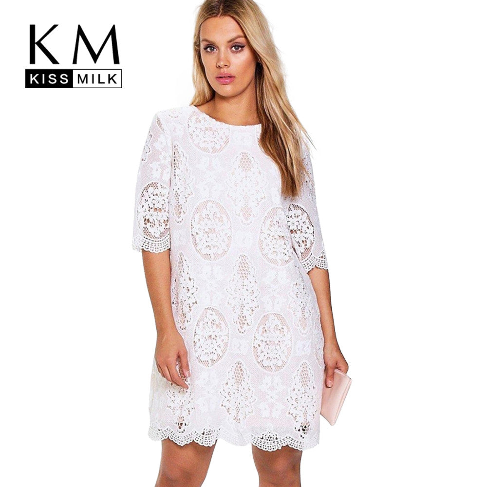 62ab5b25f1f Kissmilk 2017 Big Size New Fashion Women Clothing Casual Solid Lace Ba –  Intel Retro