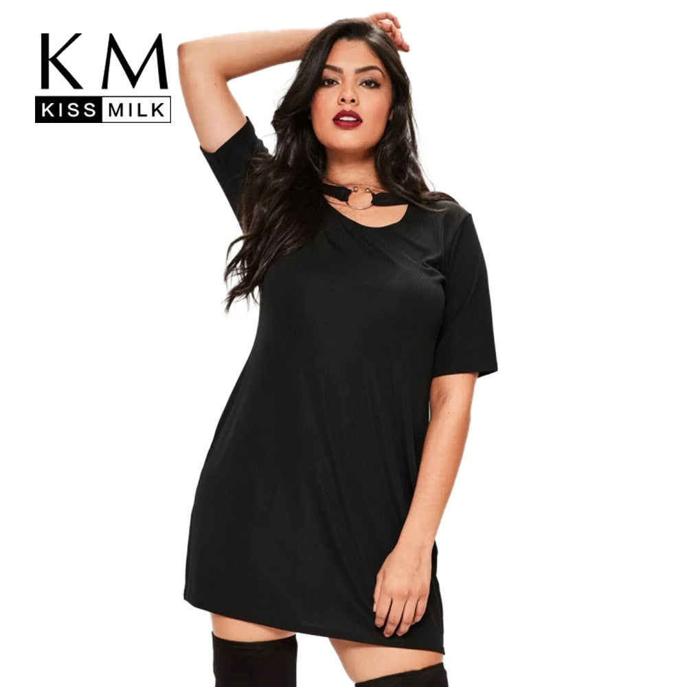 Kissmilk Women Plus size Black Punk Style Choker Dress Short Sleeves T-shirt Dress Loose Fit Solid Girl Party Dress  4XL 5XL 6XL