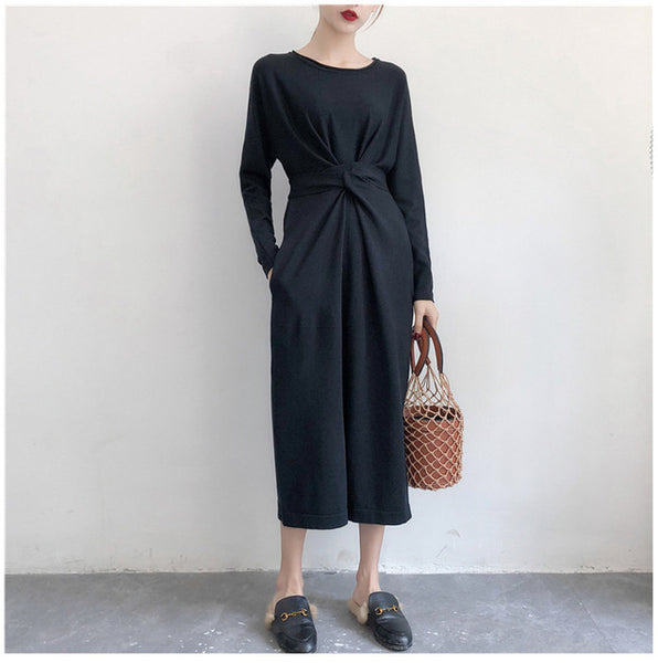 Knitted Dress Women 2019 Autumn Winter Elegant Lady Long Dress Round Neck Jumpers Lace-up Waist Vestidos