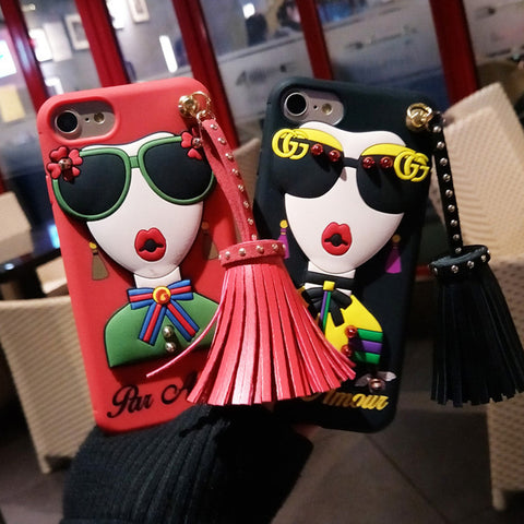 Korea Fashion Super Hot 3D Soft TPU Sunglasses Modern Girl Goddess Rivet Tassels Phone Case Cover For Iphone 7 6 6S 8 Plus