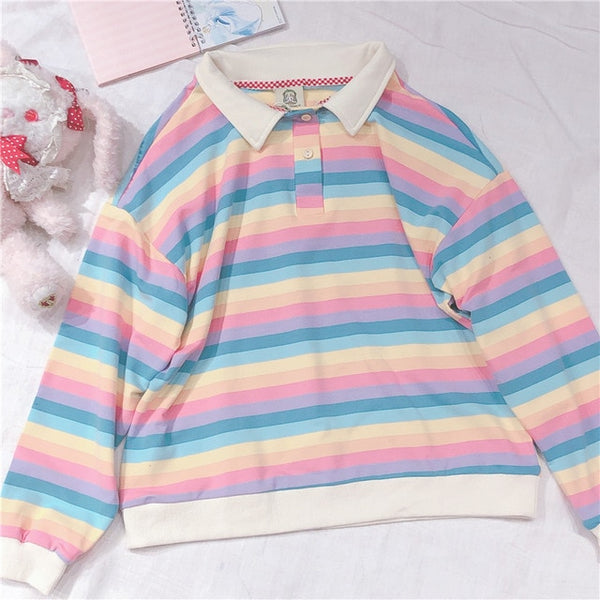 Korean Harajuku Cute Rainbow Stripe Long Sleeve Hoodies Japanese Young Girl Student Women's Pullover Polo collar Sweatshirt