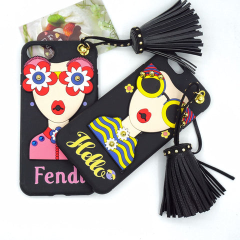Korean Sunglasses Rivet Tassels Pendant Case for iPhone X 8 7 7plus 6 6s 6plus Soft TPU Back Case Funda Fashion Girl Cover