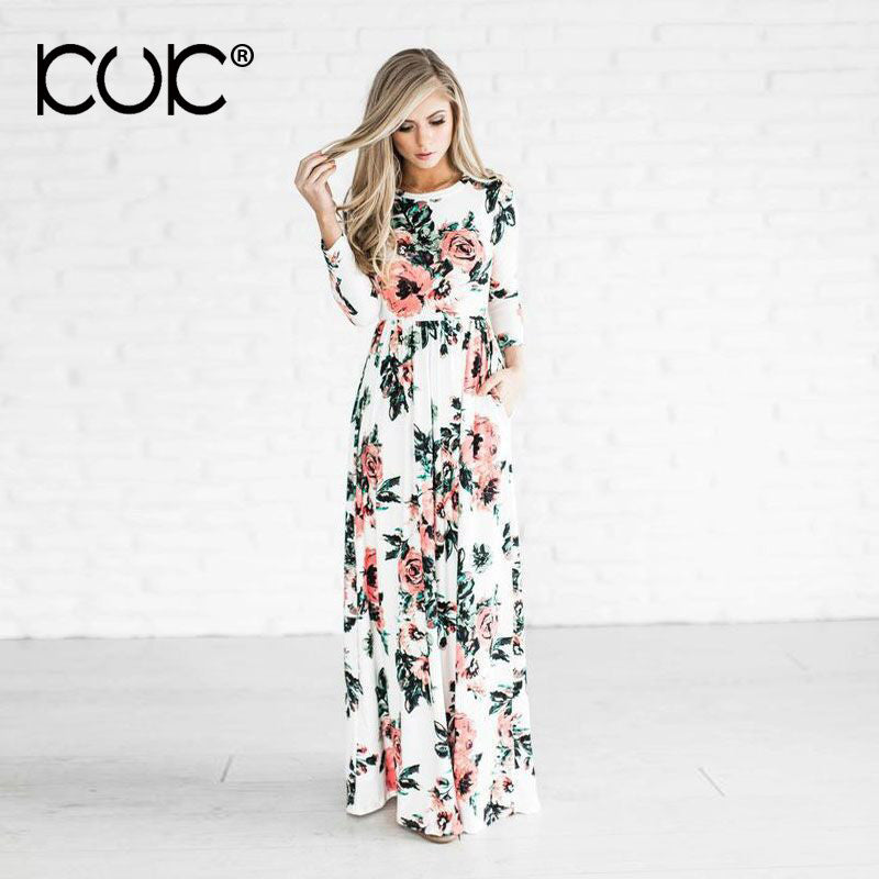 Kuk 5 Color Long Dress Floral Summer Maxi Dress 3XL Plus Size Vestido Longo  Boho Bohemian Women Dress Chic Beach Tunic A251