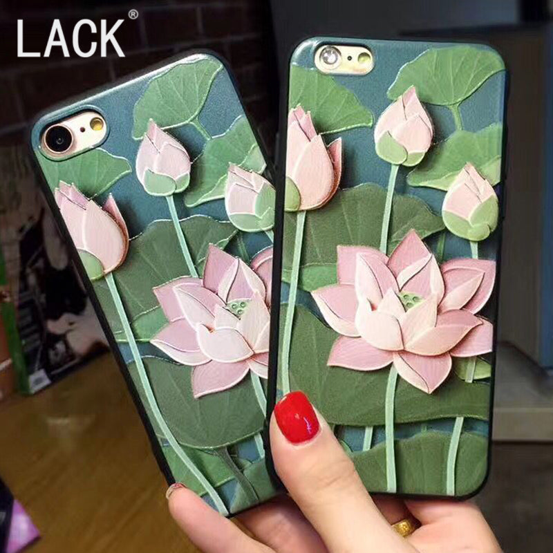check out ab4d9 6f3ed LACK Classic Lotus Case For iphone6 Summer Cool Cartoon lotus Floral Phone  Cases For iphone 6S 7 7Plus Soft relief Fashion Cover