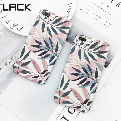 LACK Fashion Artistic Leaf Phone Case For iPhone 7 6 6S Plus frosted Hard Phone Bags For iPhone 6S leaves Back Cover Funda Shell