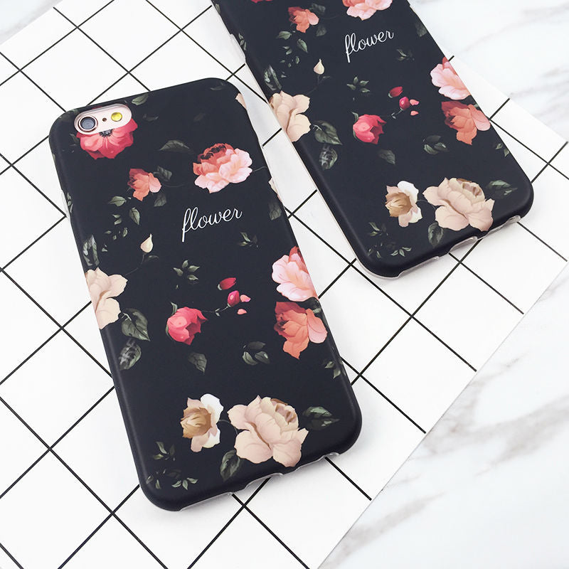 meet 13a99 65d51 LOVECOM Classical Retro Flowers Black Soft IMD Phone Back Cover Case For  iPhone 6 6S 7 Plus Mobile Phone Bags & Cases Capa
