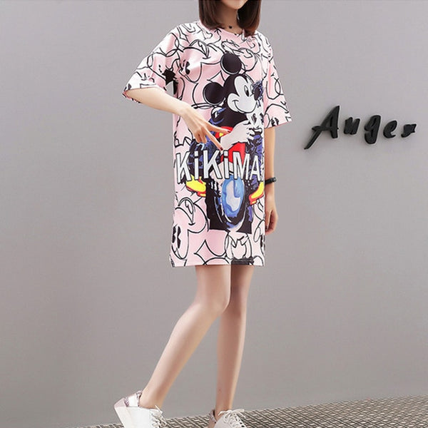 Ladies dress female 2019 new Korean version of the loose fashion simple cartoon printing round neck sleeve t-shirt skirt tide
