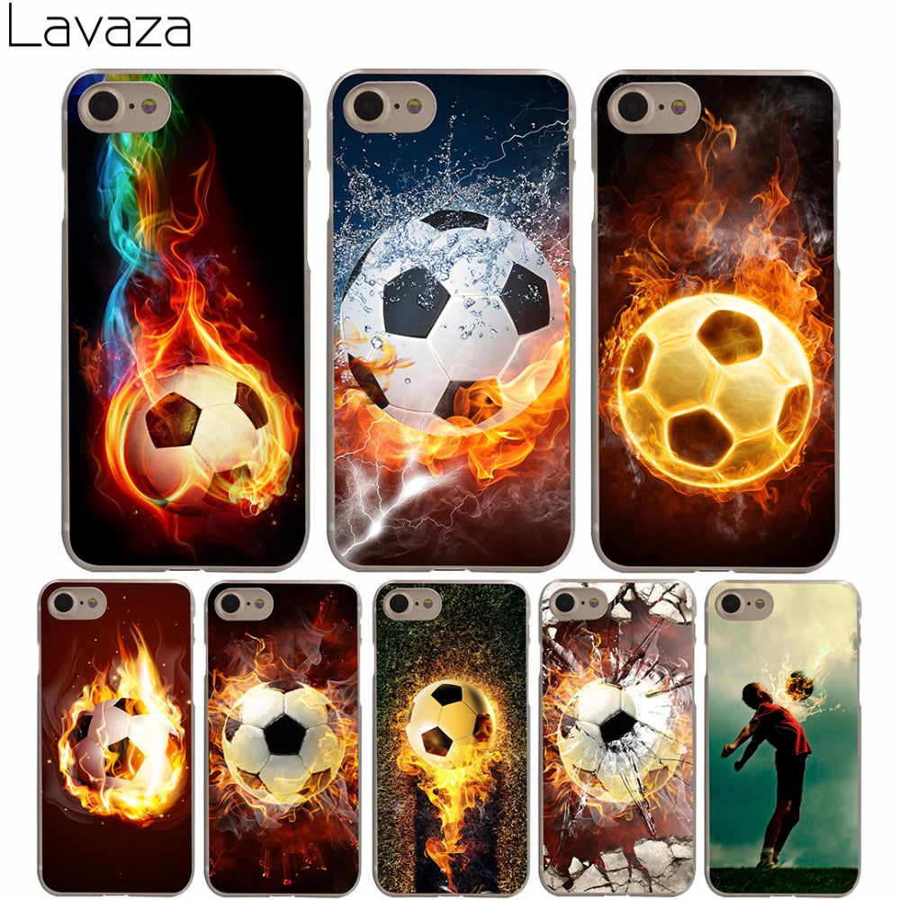 official photos cc055 2f5fc Lavaza Fire Football Soccer Ball Hard Transparent Cover Case for iPhone X  10 8 7 6 6S Plus 5 5S SE 5C 4 4S