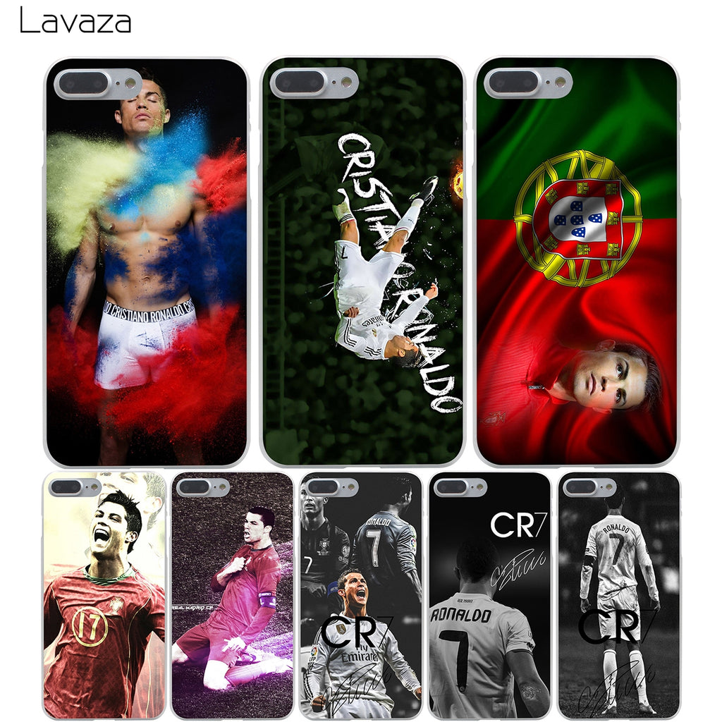 free shipping 82936 0aa20 Lavaza cr7 cristiano ronaldo Hard Transparent Cover Case for iPhone X 10 8  7 6 6S Plus 5 5S SE 5C 4 4S
