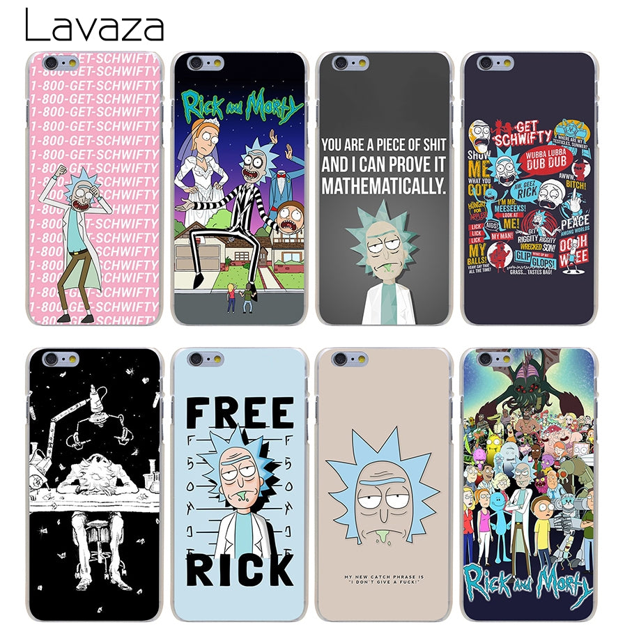 new style 78cc9 524ff Lavaza rick and morty Hard Transparent Cover Case for iPhone X 10 8 7 6 6S  Plus 5 5S SE 5C 4 4S